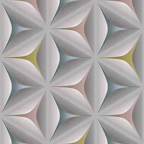 3D-Tapete grau bunt | Retro-Tapete 3D 96042-2 | Vliestapete Muster 960422 | Ausgefallene Tapeten für Wohnzimmer & Büro | Jetzt Tapeten online kaufen!