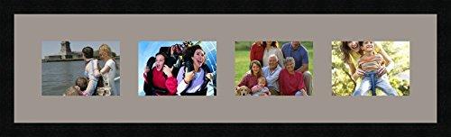 Cadres photos multivues TV Grey 4 photo(s) 18x13 Passe Partout, Cadre photo mural 88x23 cm Noir, 3 cm de largeur