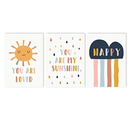 MXK Dibujos Animados Sun Cloud Poster Pintura You Are My Sunshine Nursery Wall Art Print Citas Felices Cuadros de Pared nórdicos Decoración de la habitación de los niños 50x70cm Sin Marco