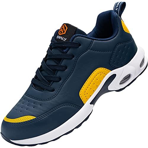 Zapatos de Seguridad Hombre,Zapatillas de Seguridad con Punta de Acero Ultraligero Transpirables Zapatos de Trabajo (Azul Amarillo,45 EU)