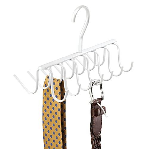 mDesign Práctica Percha múltiple para Colgar Accesorios, Cinturones, Corbatas y más – Corbatero Organizador de armarios con 14 Ganchos – Organizador de Ropa para Colgar en el Placard – Blanco ✅