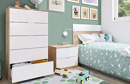 Miroytengo Conjunto habitacion Juvenil Infantil Blanco artik (Mate) y Roble Canadian...