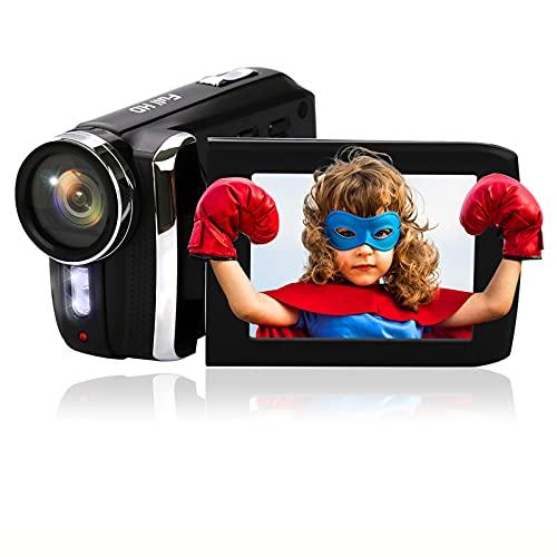 Video Camera Camcorder 1080P 20FPS 12MP HD Digital Vlogging Camcorders Kids Video Camera 2.8Inch 270 Degrees Rotation Screen Digital Camera Recorder YouTube Video Camera