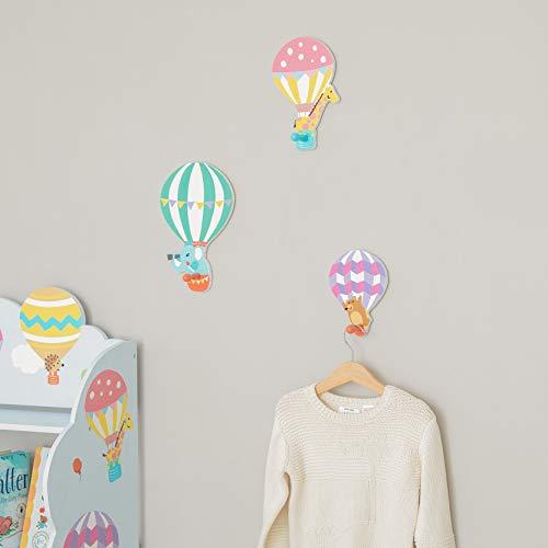 Fantasy Fields - Heißluftballon-Set aus 3 Wandhaken   Kinderzimmerdekoration   Pastell TD-13125A, Mehrfarben