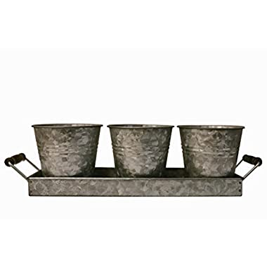H & K Designs - Silverware Picnic Caddy - Farmhouse Decor, Galvanized Metal Planter with Wooden Handles and 3 Buckets - Rustic Tray Set Organizer