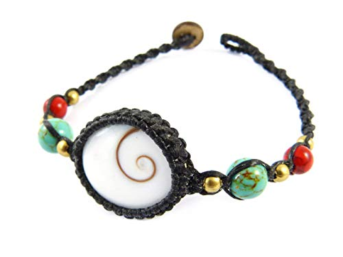 Shiva Auge Armband Muschel Makramee - Thailand Tribal Boho Stil Türkis Perlen