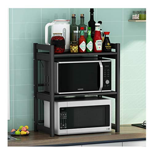 Suministros de organizador de cocina De doble capa de microondas estante retráctil cocina encimera de escritorio Arrocera Horno de almacenamiento en rack La longitud se puede retraer 38-62 cm (15-24 a