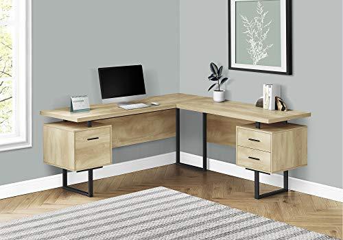 "Monarch Specialties Corner Computer Floating Desktop-3 Storage Drawers-Reversible-Home Office L-Shaped Desk, 71"" L x 71"" W, Natural/Black"