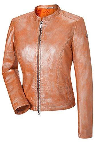 MILESTONE Desi Damen Lederjacke Lammnappa Leder Metallic-Look (40, Orange)