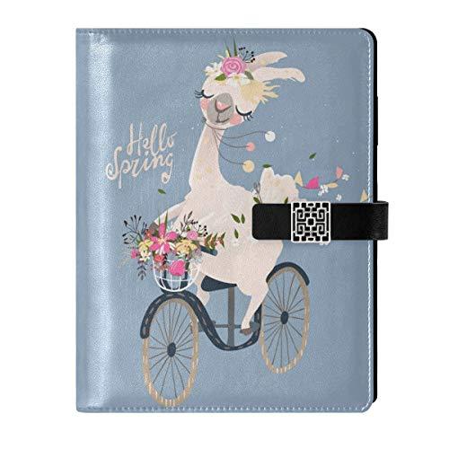 Cuaderno de cuero para diario, cuaderno de viaje, llama, alpaca, corona de flores, banderas de bicicleta, rellenable, tamaño A5, encuadernador de anillas – tapa dura, cuaderno para mujer y hombre