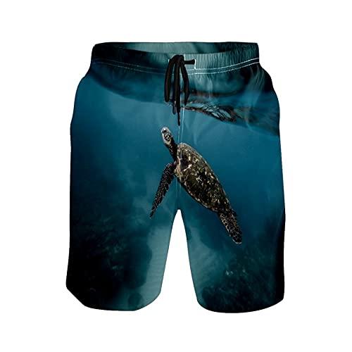 Pantalones cortos de natación para hombre, diseño de tortuga animal, para buceo, para playa, 1 color, XL