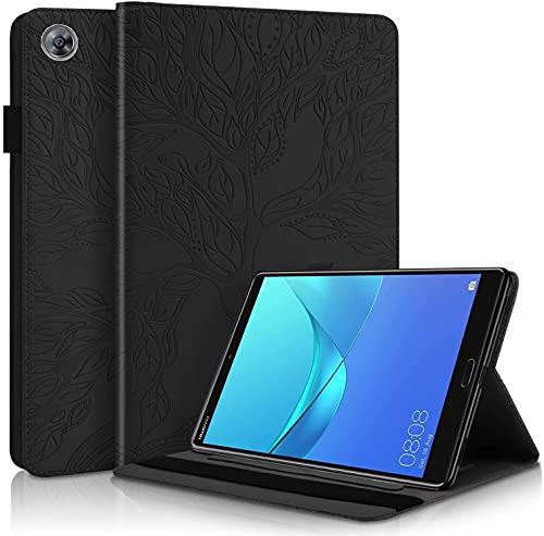 LUHUADE - Funda de piel sintética plegable para Samsung Galaxy Tab A- 2019 (10,1 pulgadas), protección de 360°, color negro
