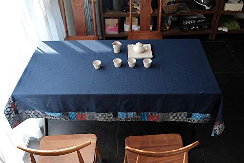 Etnische Stijl Bedrukt Blauw Tafelkleed, Huishoudelijk Katoen En Linnen Tafelkleed, Rechthoekig Tafelkleed, Eettafelkleedjes Feesttafelkleed, Tuintafel Buitenafdekking-120X120Cm