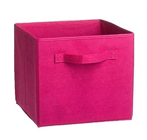 Essentials - Recipiente de almacenamiento plegable, color rosa, perfecto para organizar libros, juguetes, zapatos, escuela, suministros de armario, dormitorio, decoración de habitación, 2 unidades