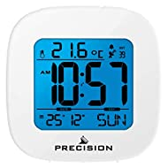 White Precision Alarm Clock LCD Backlight Snooze Button Day/Date Feature