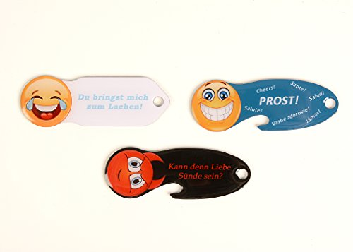 3 x Smiley Lache, Prost, Sünde Einkaufswagenlöser, Schlüsselanhänger mit Einkaufschip & Schlüsselfinder