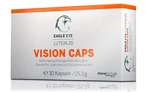 Eagle Eye Augen-Vitamine – HOCHDOSIERTE Kapseln mit 20mg FloraGlo Lutein + Zeaxanthin + Q10 + Zink + Riboflavin + B6 + B12 + Folsäure + Selen + Vitamin C + E – für die Sehkraft und die Augengesundheit