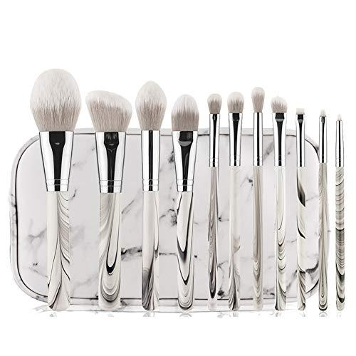 Set De Pinceaux De Maquillage, 11 Pcs Marbre Professionnel Fondation Blend Blush Ombre À Paupières Beauté Outils (sac Pu)
