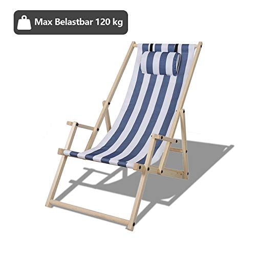 TolleTour Gartenliege klappbar Holz Liegestuhl mit Armlehnen und Kopfkissen Abnehmbarem Strandliege für den Garten, Terrasse und Balkon 120 kg max.(Blau-Weiß-gestreift)