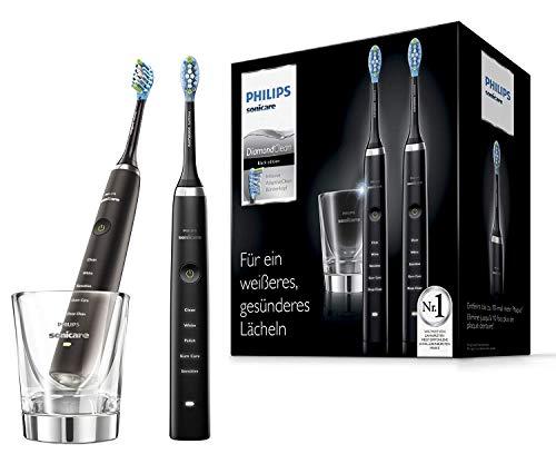 Philips Sonicare DiamondClean Duo Elektrische Tandenborstel HX9357/87 - Wittere, gezondere tanden - 5 Poetsstanden - Diepe reiniging stand - Met oplaadglas - Zwart