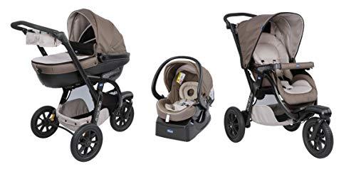 Chicco Trio Activ3 Kinderwagen 3 in 1 Modulares Baby Travel System mit Kit Car, 3-Rad Kinderwagen, Kinderwagenaufsatz und Babyschale Gruppe 0+, mit klappbarem, kompaktem Verschluss, dark Beige
