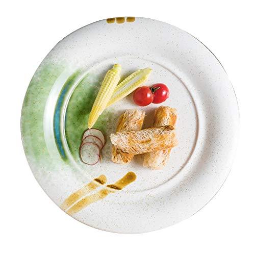 platos De Cerámica Redondo Vajilla De Carne Occidental para El Hogar Ensalada De Frutas, Decoración De Ramen Cerámica De Calentamiento por Microondas