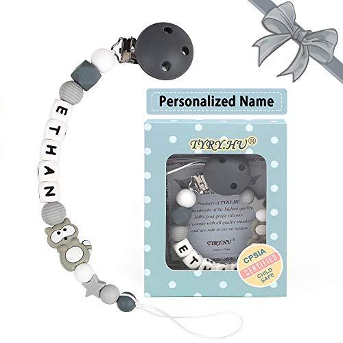 Schnullerkette mit Namen für Mädchen und Jungs Personalisierte Schnuller Dummy Clips Zahnen Silikon Koala Babydusche (Grauer Waschbär)