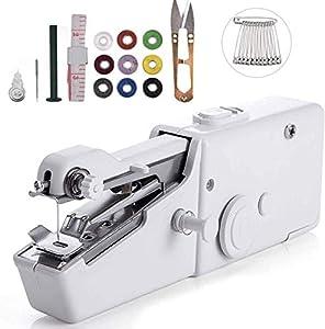 Máquina de coser de mano, 25 piezas mini máquina de coser portátil, mini máquina de coser portátil inalámbrica para tela, ropa, cortinas, uso de viaje en casa, bricolaje (white)