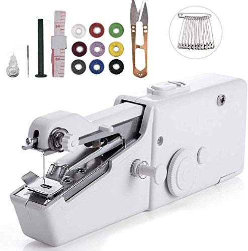 BAOTWO 25 Mini Machines à Coudre portatives sans Fil, Mini Machine à Coudre Portable, sans Fil Pratique pour Tissus, vêtements, Rideaux, Utilisation à la Maison, Voyage et Bricolage (White)