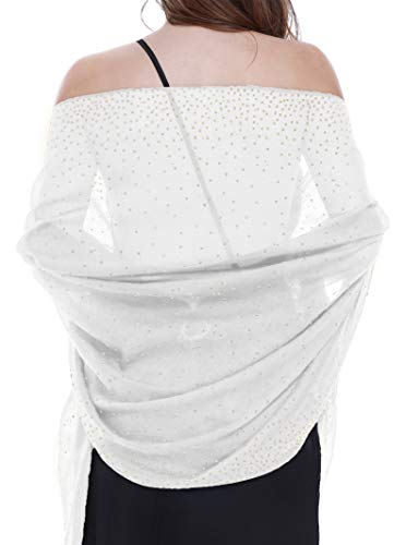 Shawls and Wraps for Evening Dresses Shiny Scarf White