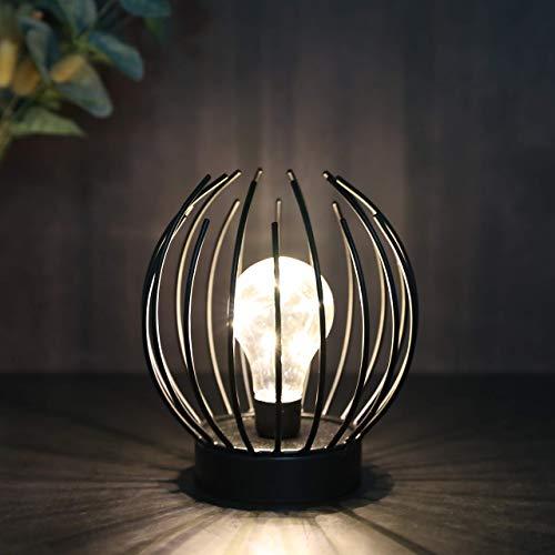 JHY DESIGN Metallkäfig Tischlampe Batteriebetriebene Akku-Lampe mit LED-Glühbirne im Edison-Stil Ideal für Hochzeiten Partys Patio-Events für drinnen draußen