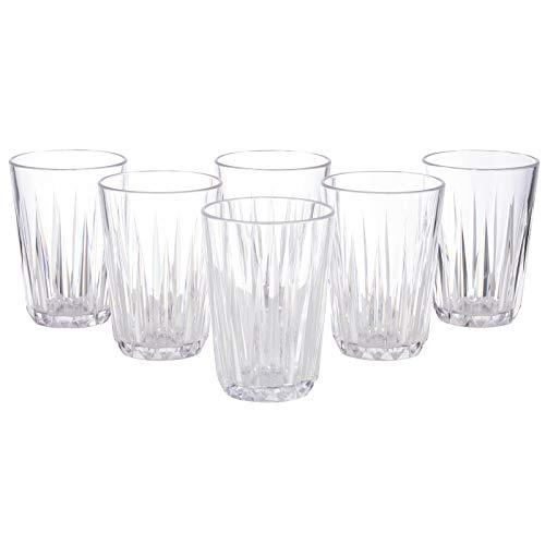 Juego de 6 vasos de 150 ml, de plástico irrompible y sin BPA, apilables y aptos para lavavajillas, vasos de agua, zumo, ideal también para exteriores, jardín y camping. Fabricado en Alemani