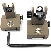Dagger Defense -Combat Vet Owned Company- Tactical flip up BUIS Picatinny Rail Mounted Backup Iron Sights. (tan)