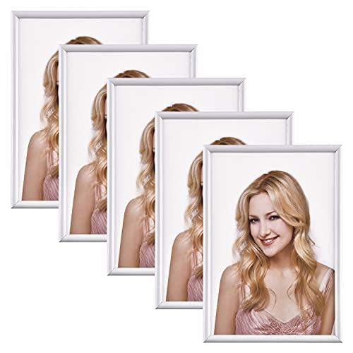 Alishomtll Bilderrahmen DIN A4 Bilderrahmen 5er Set, 21 x 29,7 cm, Fotorahmen Kunststoffrahmen Set für Mehrere Bilder Fotos Weiß