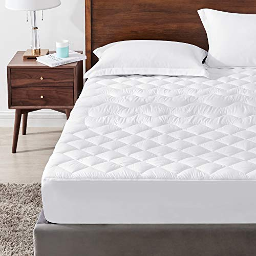 Hansleep Double Quilted Mattress Protector with Fitted Skirt Up to 51cm Deep, Breathable Microfibre Mattress Cover Fitted Extra Deep Bed - 140x200cm