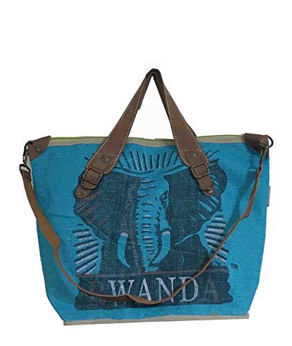 HOGACA coole Damen-Handtasche Mod.4.5 Elefant Türkis aus recycelten Kaffeesack Kaffeebohnensack-Leinen Juttesack Country Line Shopper Damenhandtasche Sommer-Strand-Hippie-Ibiza-Tasche