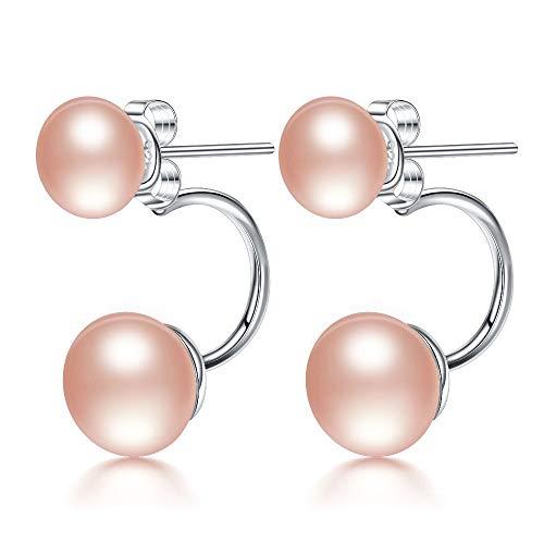 Kim Johanson Damen Doppel Perlenohrringe *July* aus 925 Sterling Silber mit echten rosa Süßwasser Perlen Ohrstecker Perle inkl. Schmuckbeutel
