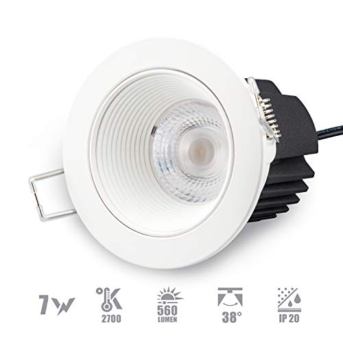 POPP® Downlight foco led empotrable iluminación de interior blanco redondo 7W 560Lm...