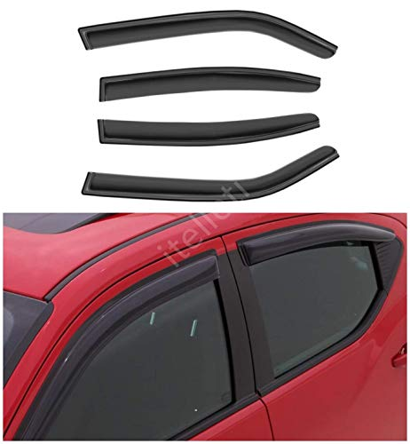 itelleti 4pcs Outside Mount Dark Smoke Sun/Rain Guard Front+Rear Tape-On Auto Window Visors For 06-10 Dodge Charger