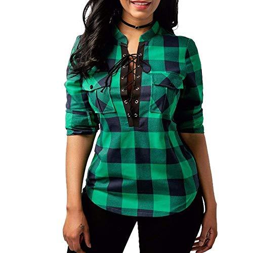 Longsleeve Ladies Blouses Plaid Shirt Camisa A Fashion Casual con Cuadros Vintage...