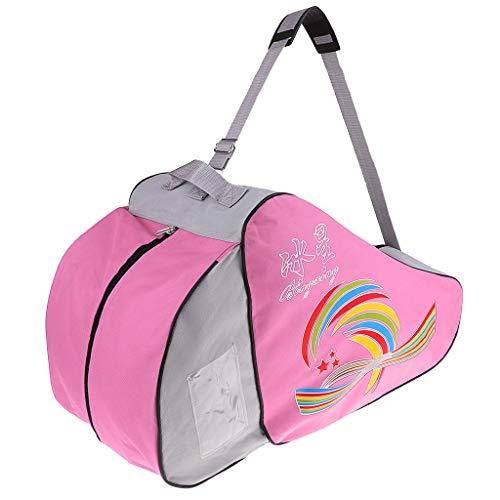 MagiDeal Inline Rollschuh Tasche Schlittschuhhalter Tragetasche Aufbewahrungstasche, Männer Frauen Jungen Mädchen Skating Equipment Carrier, Durable Nylon - Rosa
