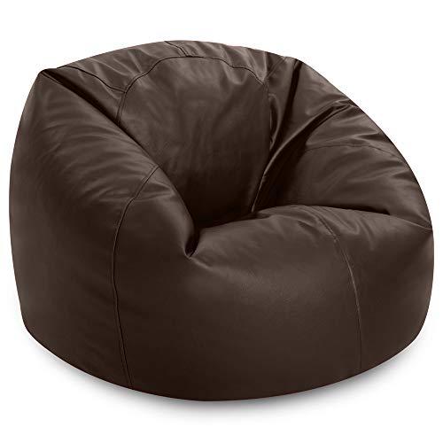 Bean Bag Bazaar Klassischer Sitzsack aus Kunstleder, Braun, Sitzsäcke für Erwachsene, 85cm x 50cm, Groß, Kunstleder, Sitzsäcke für das Wohnzimmer