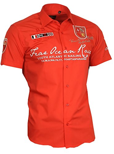 Louis Binder de Luxe Herren Herren Hemd 806 Bestickt modern fit Kurzarm rot 4XL 50