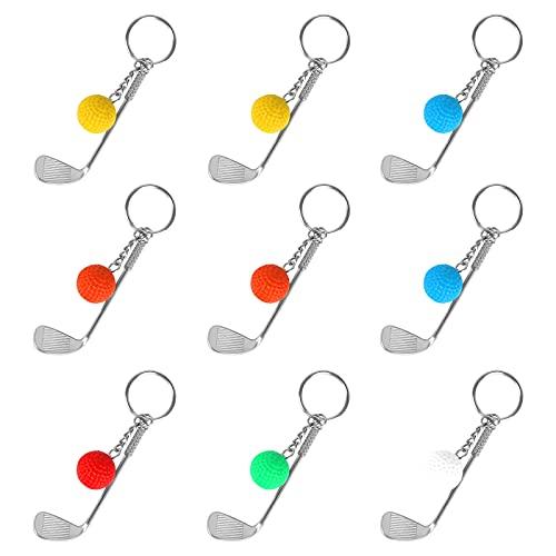 Fumanduo 9 Stück Golf Schlüsselanhänger Mini Golf Schlüsselanhänger Schlüsselbund mit Golfclub Golfschläger mit Ball Schlüsselring Kreativer Metall Keychain Geschenk für Golfer (6 Farben)