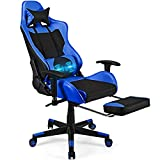 POWERSTONE Massage Gaming Chair with Footrest - Office Computer Game Racing E-Sports Chair Ergonomic Lumbar Massage Pillow Footrest Headrest High-Back Leather Recliner Rolling Swivel Chair (Blue+)