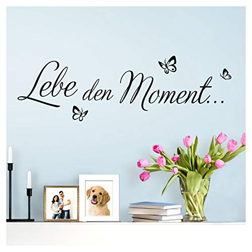Wandaro Wandsticker Spruch Lebe den Moment | schwarz 80 x 27 cm | Wandaufkleber Flur Wandspruch Wohnzimmer Wandtattoo Aufkleber W3481