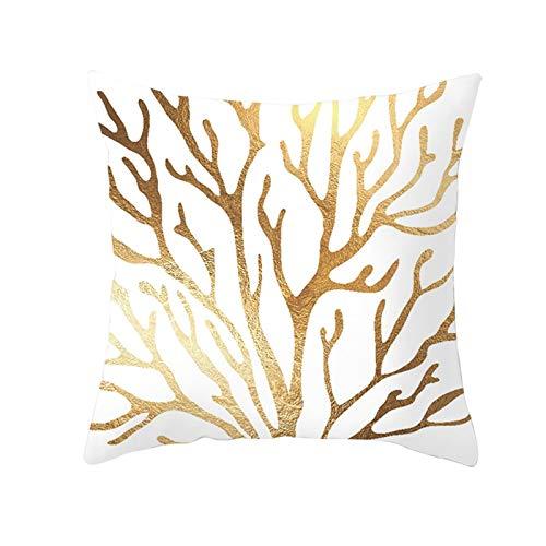 KnBoB Funda de Almohada Poliéster Ramas Árbol Blanco Oro 40 x 40 cm Estilo 19