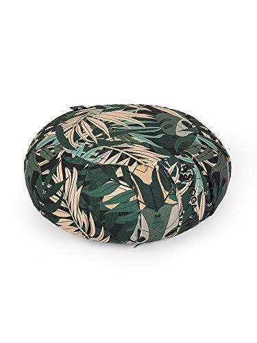 Yoga Studio Organic Buckwheat Cushion – 36cm x 18cm Green Jungle, Round Designed Cushion...