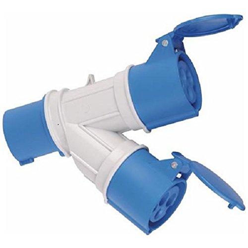 Adattatore Industriale 2 Prese Cee 2P+T IP44 Blu Maurer