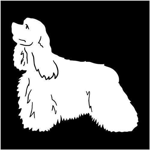WYG Pegatinas para coche, 2 unidades, diseño de perro americano Cocker Spaniel, 14 x 12,7 cm, color plateado